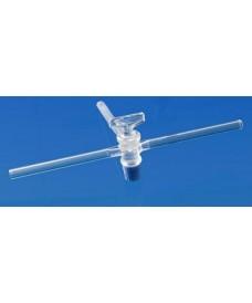 3 voies en T avec robinet en verre borosilicaté 12,5 mm