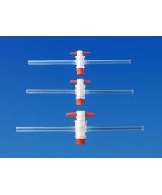 Robinet droit avec clé en PTFE 18,8 tube 10 mm