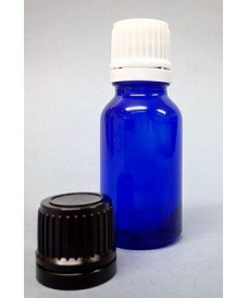 Flacon bleu 15 ml bouchon inviolable DIN18