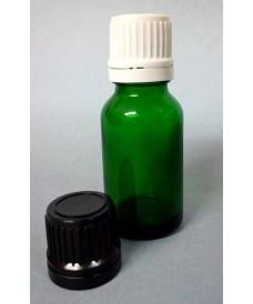 Flacon vert 15 ml bouchon inviolable DIN18