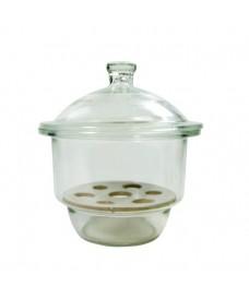 Dessiccateur verre à bouton et plaque de porcelaine 300mm ECO