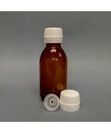 125ml Amber Glass Sirop Bottle & Single Hole Insert for Syringes