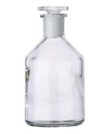 Flacon blanc à col étroit 50 ml et bouchon en verre rodé