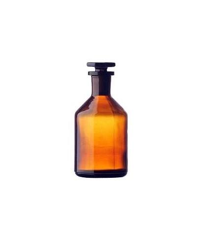 Frasco 250 ml ámbar boca estrecha y tapón de vidrio