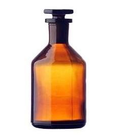 Flacon jaune à col étroit 500 ml et bouchon en verre rodé