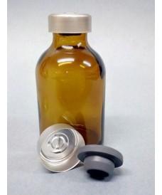 Flacon antibiotique verre jaune 20 ml avec capsule bouchon