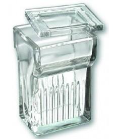 Boîte à coloration Hellendhal en verre pour 8 lames porte-objets