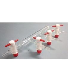 Tubo de vidrio con 3 salidas y llaves PTFE