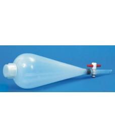 Embut decantació 100 ml plàstic clau PTFE