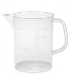 Vaso de plástico con asa 500 ml graduado