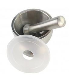 Mortero acero inox 120 mm con mano