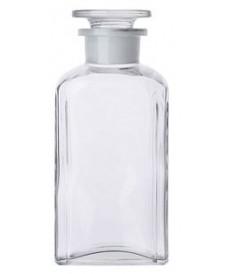 Flacon carré blanc à col large 250 ml et bouchon en verre rodé