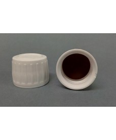 28 mm White Screw Cap with Inner Disc PTFE & Tamper Evident Seal