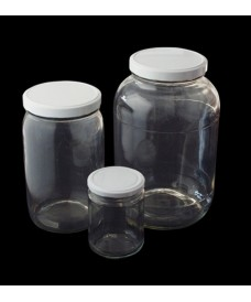 250ml Clear Glass Food Jar & White Twist Off Lid