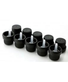 Tapa rosca DIN18 gotero obturador negro para aceites