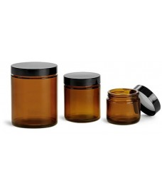 120 ml Amber Glass Threaded Wide Neck with Black Bakelite Lid