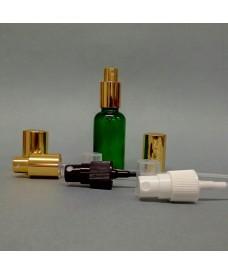 Flacon vert 15 ml avec pompe spray à vis DIN18