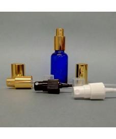Flacon bleu 30 ml avec pompe spray à vis DIN18