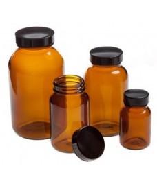 Frasco de boca ancha 15 ml vidrio ambar y con tapa a rosca