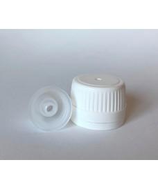 Tapa blanca con obturador y orificio para jeringas para botella con rosca PP28