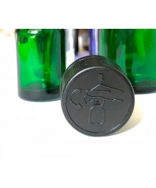 Black Anti-Children cap with seal and inner disc for DIN18 threaded bottles