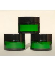 Tarro de vidrio verde con tapa de negra a rosca , 30ml