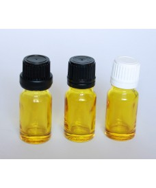 Yellow glass bottle with narrow neck & screw cap & vertical dropper cap for oil, 10ml