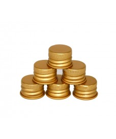 Golden aluminium cap for bottles with 18 mm screw neck