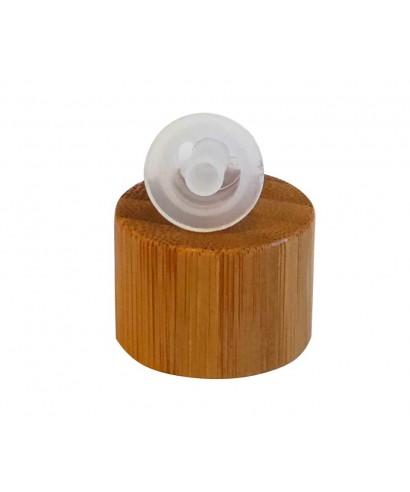 Tapa de bambú con gotero obturador para frascos de vidrio con rosca 18 mm