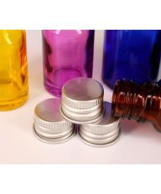 Tapa con rosca de aluminio de color plata para botella con boca rosca 18mm