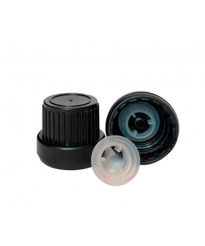 Tapa negra rosca DIN18 i precinte amb anell d'abocament intern