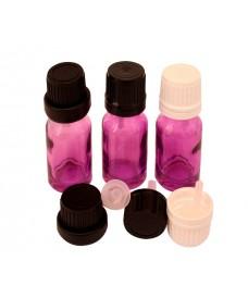 Flascó vidre lila amb rosca DIN18 10ml i tapa negra amb degotador obturador