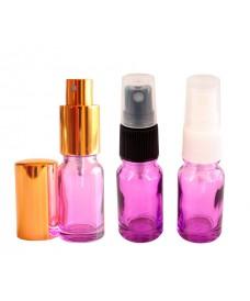 Frasco de vidrio violeta con rosca DIN18 y tapa spray, 10 ml