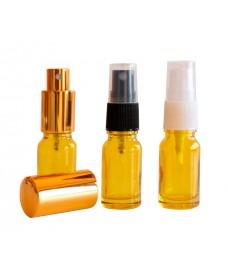 Frasco de vidrio amarillo con rosca DIN18 y tapa spray, 10 ml