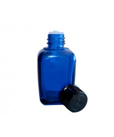 Blue square glass bottle with 18mm thread and black cap with shutter dropper, 30ml