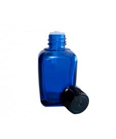 Frasco de vidrio cuadrado azul con rosca 18mm y tapa negra amb gotero obturador, 30ml