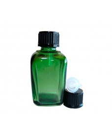 Green square glass bottle with 18mm thread and black cap with dropper, 30ml