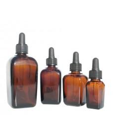 Flascó vidre quadrat ambre rosca de 18 mm i comptagotes negra, 10 ml