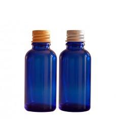 Flascó de vidre blau i tapa d'alumini color d'or/plata amb rosca 18mm