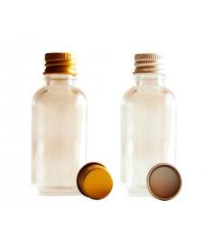 Flascó de vidre transparent i tapa d'alumini color d'or/plata amb rosca 18mm