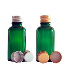 Flascó vidre verd amb tapa d'alumini amb rosca 18mm