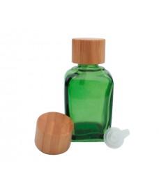 Flascó quadrat verd amb tapa a rosca de bambú de 18mm de diàmetre i tap degotador 30ml