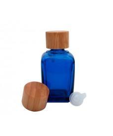 Flascó quadrat blau amb tapa a rosca de bambú de 18mm de diàmetre i tap degotador 30ml