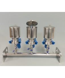Rampa de filtración 3 plazas para filtros de membranas de 47 mm