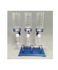 Rampas de filtración 3 plazas de vidrio completo para filtros de 47 mm, 500 ml