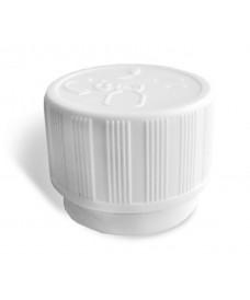 White Anti-Children cap with tamper evident and inner disc for PP28 screw bottles
