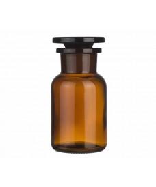 Flascó 100 ml ambre boca ampla i tap de vidre
