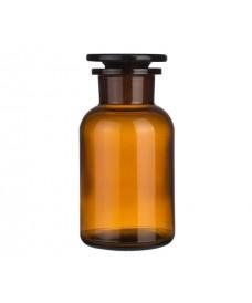 Frasco 250 ml ámbar boca ancha y tapón de vidrio