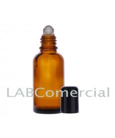 Frasco vidrio ámbar 30 ml con roll-on y tapa negra