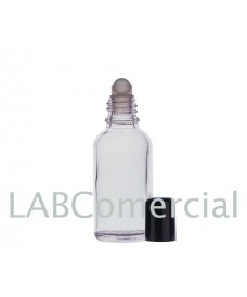 Frasco vidrio transparente 30 ml con roll-on y tapa negra
